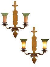 2 Stück sehr große Jugendstil Messing Wandleuchter Blaker Lilien Wandlampe