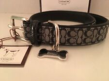 Rare NIB Coach Black White Silver Mini Signature Leather Dog Collar F60364 Large