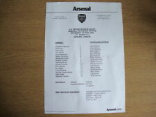 Arsenal Football Reserve Fixture Programmes (2000s)