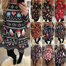 Damenkleid Christmas Partykleid Langarm Weihnachten Skater Swing Minikleid 34-44