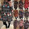 Womens Christmas Xmas Dress Elf Santa Reindeer Costume Party Skater Swing Dress