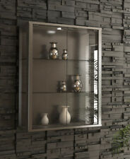 Glass Display Cabinet Wall Mounted Silver Toys Vapes Optional LED Light