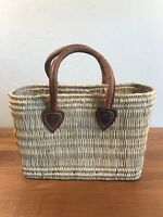 Vintage Wicker Woven  Handbag Brown Leather Strap
