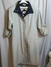 Trench Coat British Mist Ladies  Gray Navy Full Length Sz 12