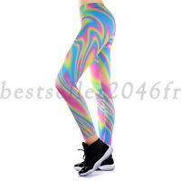 Women's Rainbow Color Yoga Fitness Legging Running Sports Workout Pants Trousers