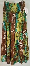NWT Allison Taylor brown teal turquoise green tiered layered maxi skirt ladies 8