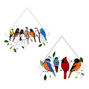 Stained Glass Birds-On-A-Wire Window Panel Hanging Sun Catcher Ornament