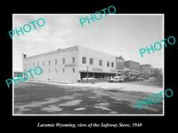 OLD LARGE HISTORIC PHOTO OF LARAMIE WYOMING, VIEW OF THE SAFEWAY STORE c1940