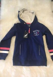 Nautica ANCHOR YOUR HEART Maritime Girls Sweatshirt Zippered Hoodie Size L/G 6