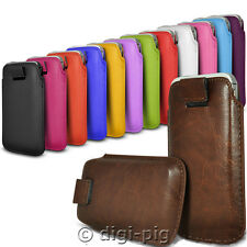 COLOUR (PU) LEATHER PULL TAB POUCH CASES FOR LATEST MOBILE PHONES