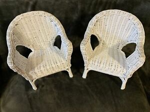 """Lot Of 2 VINTAGE WHITE WICKER DOLL PLANT CHAIR 10""""  TALL EUC"""