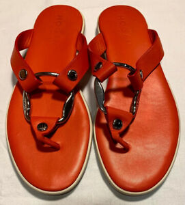Hogan Womens Orange Leather Silver Ring Thong Sandals Shoes 7.5