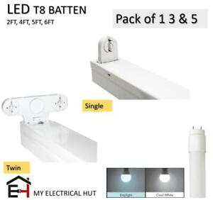 T8 LED Compatible Batten Fitting Fixture 2FT 4FT 5FT 6FT Single/Twin With Tube