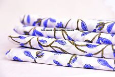 5 Yard Indian White Hand Block Print Cotton Voile Fabric Sewing Material Fabric