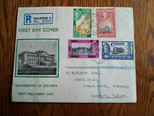 """VERY RARE CEYLON TO ENGLAND 1947 REGISTERED """"INAUGRATION OF PARLIAMENT"""" 1ST DAY"""