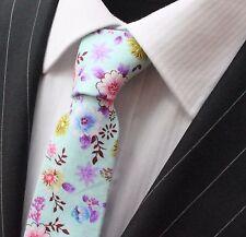 Tie Neck tie Slim Light Blue with Multi Floral Quality Cotton T6130