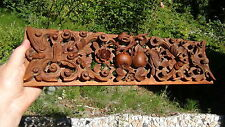 ANTIQUE 19c CHINESE ROSEWOOD CARVED PIERCED WALL PANEL BIRD W/FLOWERS AND FRUITS