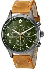 Timex Men's Expedition Scout Chronograph Leather Strap Watch Tan/Green