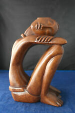 "Beautiful Hand Carved Modern Figure  8"" x 4"" x 5 Inches Wide In Ebony Asian Wood"