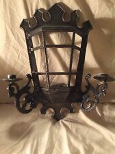 Homco Bird cage Planter Candle Holder Black Gold Hammered Look Sconce Wall
