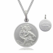 """Solid Sterling Silver St Saint Christopher Pendant 18"""" Necklace & Gift Box"""