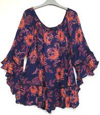 Evans Purple Flamenco Sleeve Bardot Tunic Top - Size 16 - 30