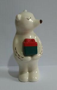 Polar Bear Ornament - Polar Bear with Christmas Present Ceramic Figure