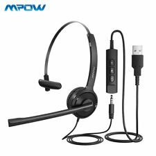 Mpow Stereo USB Computer Headset Noise Cancelling Headphone For Skype PC Laptop
