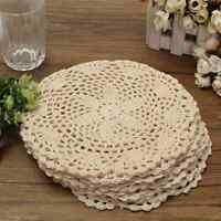 12Pcs Cotton Round Hand Crocheted Lace Doilies Flower Coasters Table Decorative