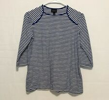 Who What Wear Blue & White Striped Half Sleeve Shirt Womens S
