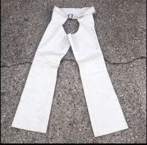 harley davidson creme city off white leather motorcycle chaps womens small