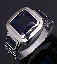 Fashion Size 12 Halo Blue Sapphire Solitaire 18K Gold Filled Men's Wedding Ring