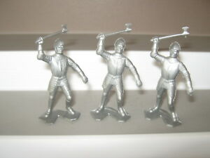 Marx 5 knights in 2 poses originals from the castle set 1968 no 4635 ex/ cond