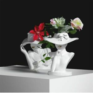 White Pink Nordic Style Human Head Flower Pots Creative Beauty Flower Vase Home
