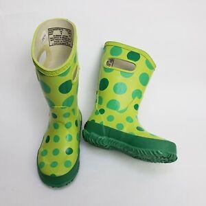 Bogs Kids Boots Green Polk Dot Rain Rubber Shoes Waterproof Size 8 EUR 24