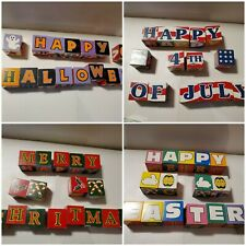 """""""All Seasons"""" Holiday Wood blocks - Christmas, 4th of July, Thanksgiving, Easter"""