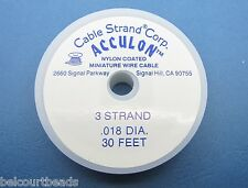 Acculon Tiger Tail Beading Wire .018 Stainless Steel 3 Strand 30 Feet