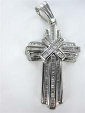 14KT WHITE GOLD PENDANT 205 DIAMOND 4.0ctw CROSS BIG HEAVY FATHERS DAY 014458718