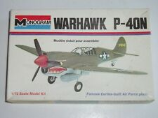 Vintage Monogram 1:72 Curtiss Warhawk P-40N Fighter Model Airplane Kit! - NOS!