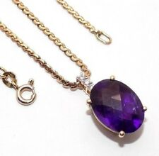 "Ladies, 18"" 9ct 9carat yellow gold chain with amethyst and diamond pendant"