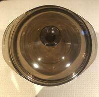PYREX Amber Brown Glass Round  #024 2L Casserole Dish Bowl w/ 624-C Lid Handles
