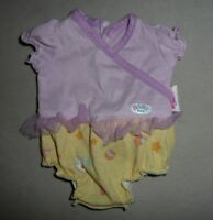 Baby Born Zapf Creations Baby Doll Girl Clothes Purple & Yellow Outfit w Ruffle