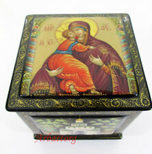 Russian Lacquer box Mstera Vladimirskaya Holy Mother of God Hand Painted №254-3