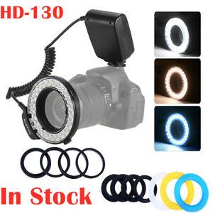 HD-130 Macro LED Ring Flash 3000-15000K Diffusers For Canon Nikon Sony Cameras