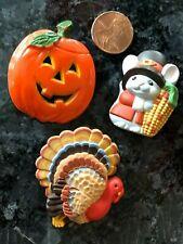 Vintage Hallmark Fall Holiday Pin Lot Thanksgiving Pilgrim Mouse Halloween Jol