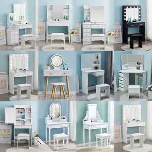 Dressing Table Stool Set Make-Up Desk w/ Mirror Bedroom Jewelry Drawers Storage