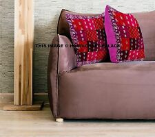 Indian Pillow Cushion Cover Silk Embroidery Patchwork Handmade 40x40 Pillow Sham