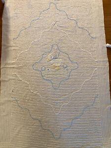 "Vtg Chenille White Bedspread Baby Crib Blanket Duck 40"" x 60"""