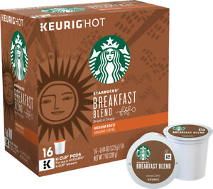 Starbucks Breakfast Blend Coffee 16 to 96 Count Keurig K cups Pick Any Quantity