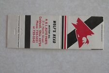 d15 Vintage Matchbook cover Wolf's Head Oil A & L Caldwell Ohio OH Auto Parts